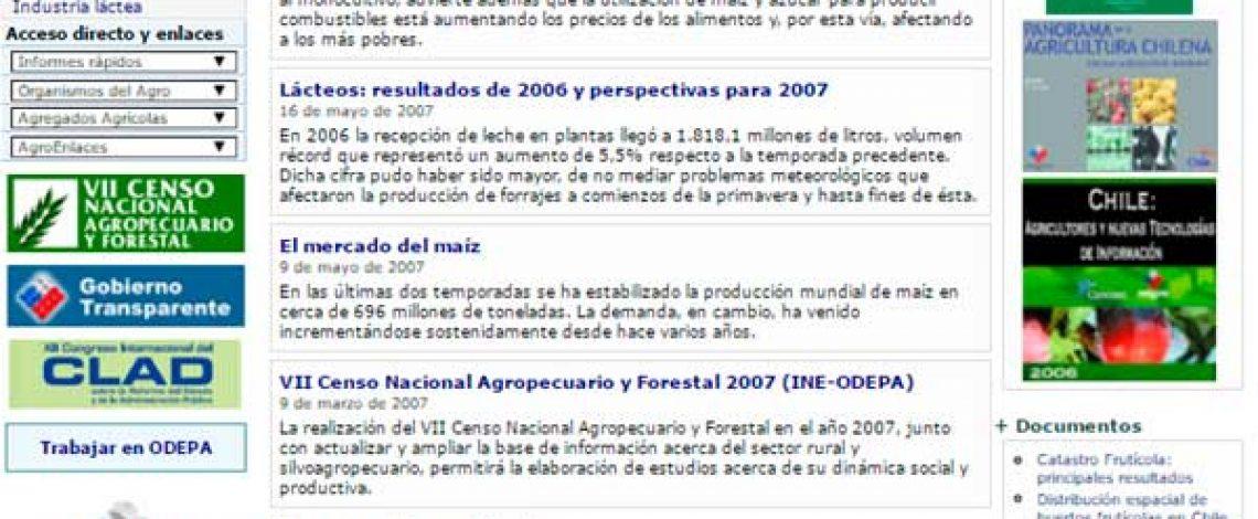 Consultorías / Asesorías: Elaboración de propuesta de rediseño del sitio web de Odepa