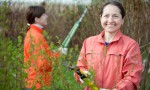 women cutting shrubbery