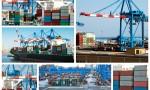 A collage of photos about cargo shipping theme