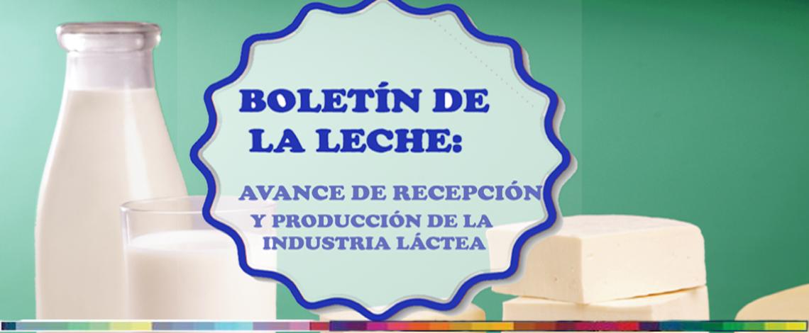 Boletín de la leche: avance de recepción y elaboración de la industria láctea