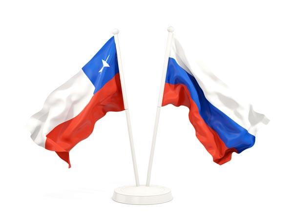 Bamderas de Chile y Rusia