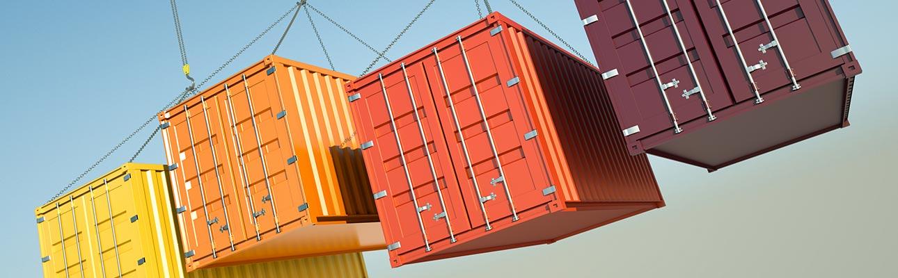 contenedores con productos de exportación