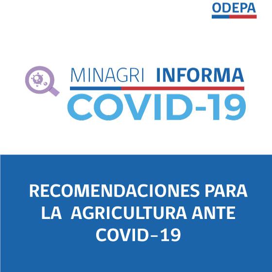 Recomendaciones para la agricultura ante COVID-19