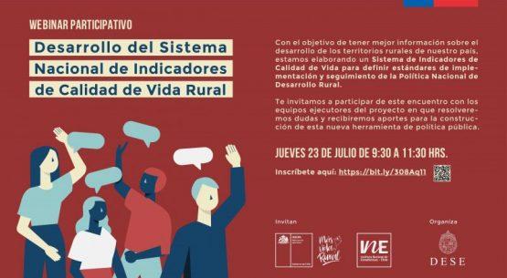 Inscríbete en el webinar participativo del Sistema de Indicadores de Calidad de Vida Rural